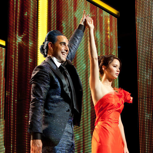 "Jennifer Lawrence (pictured with Stanley Tucci) plays the female ""tribute"" from District 12."