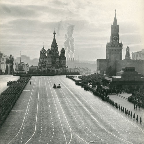 Emanuil Evzerikhin's dramatic 1950 photo depicts a parade celebrating the October Revolution.