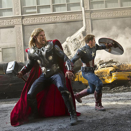 The Avengers — here, Thor and Captain America (Chris Hemsworth and Chris Evans) — just can't get along.