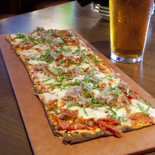 Flatbreads are a good option at happy hour.