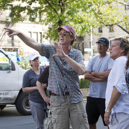 Director David Koepp on the set of Premium Rush.