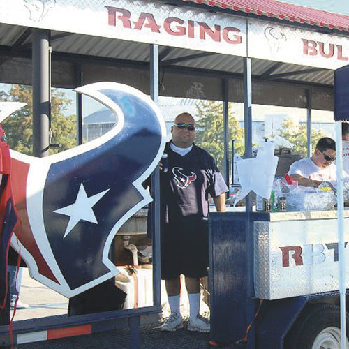 The Raging Bulls tailgating crew is famous for its larger-than-life game-day spirit.
