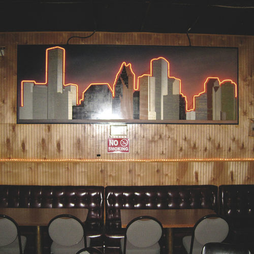 Readers of 29-95 would never discover wonders like this neon skyline inside Spring Branch strip mall dive Club Max.