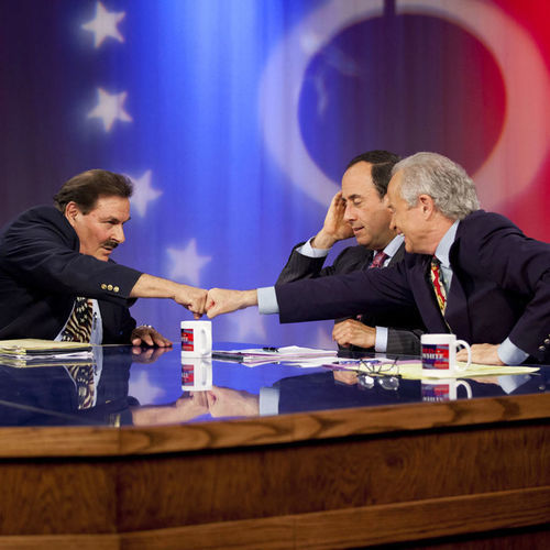 "Lloyd Oliver debates Republican opponent Mike Anderson on the PBS show Red, White and Blue. Lloyd calls David Jones (far right) a ""frustrated homosexual,"" though Jones isn't gay."