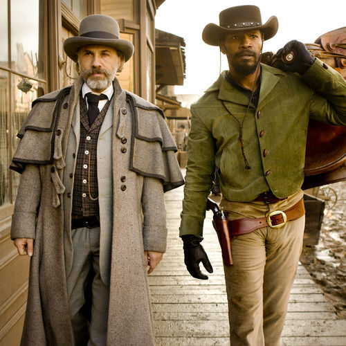Christoph Waltz as Schultz and Jamie Foxx as Django in Quentin Tarantino's upcoming DJANGO UNCHAINED.