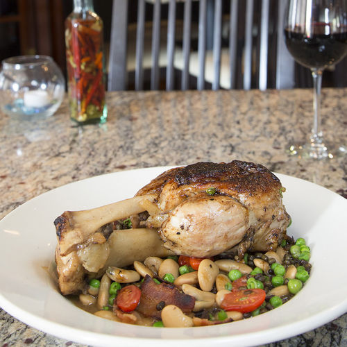 The sour agrodolce reduction mimics the taste of pork 'n' beans.