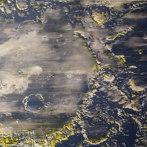 Untitled (Moon) 2012 shows off flat expanses of dark shadows.