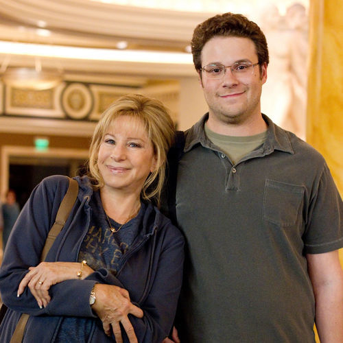 Left to right: Seth Rogen is Andrew Brewster and Barbra Streisand is Joyce Brewster.