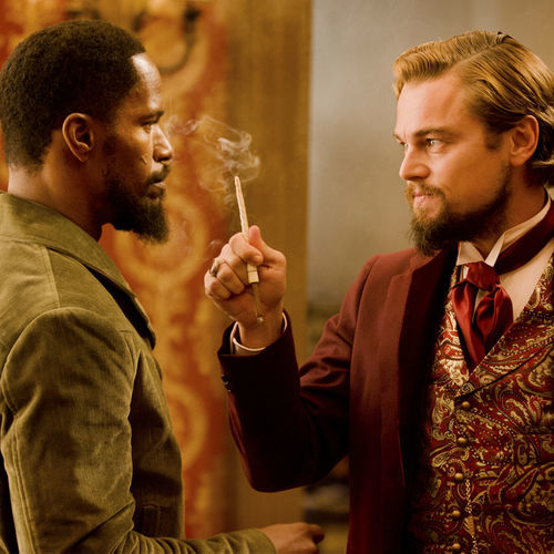 Jamie Foxx as Django confronts slave owner Calvin Candie as, yes, Leonardo DiCaprio plays a bad guy.