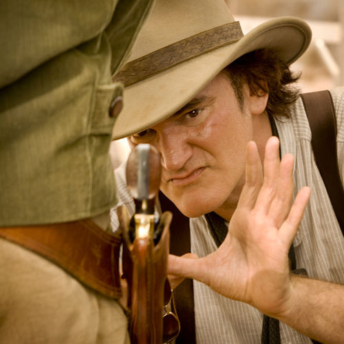 Director Quentin Tarantino on the set of DJANGO UNCHAINED.