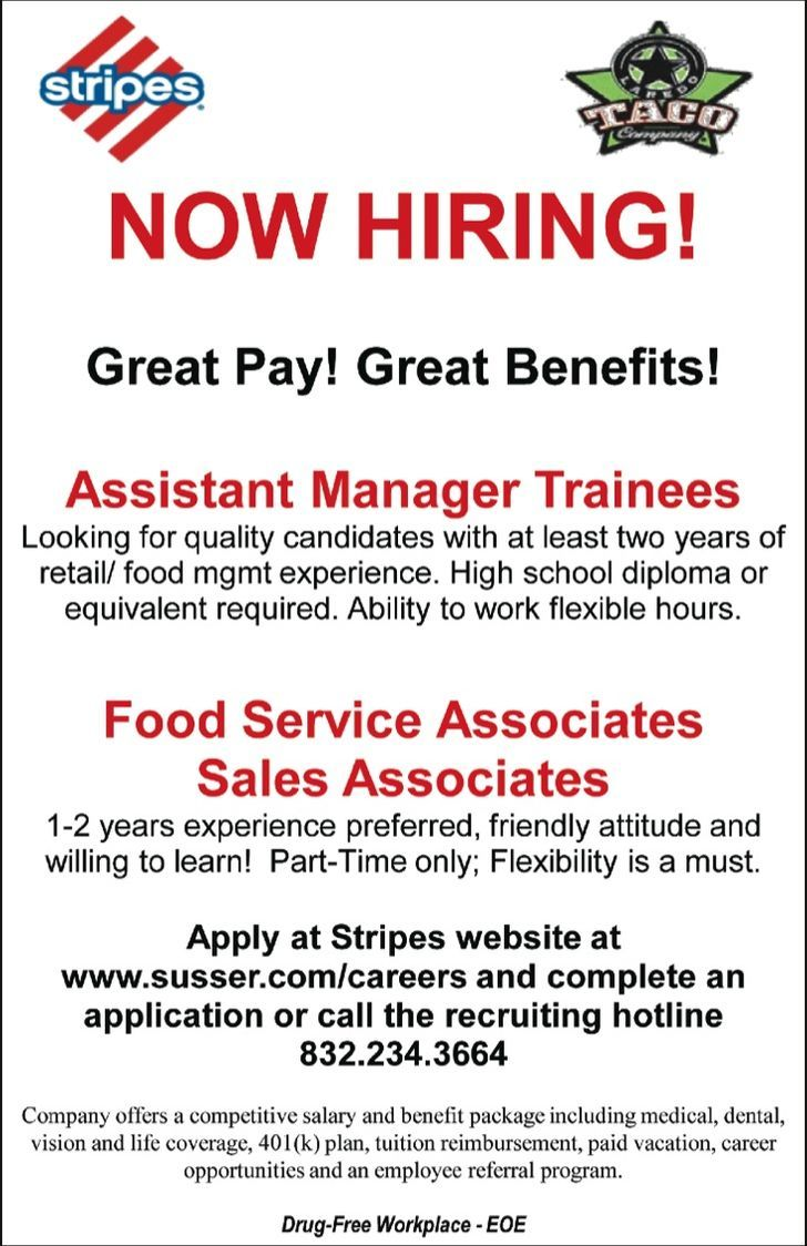 Stripes Restaurant Now Hiring