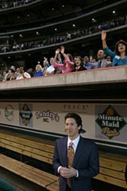 Osteen (shown at a ballpark rally) has stepped up to  the plate for Lakewood.