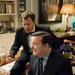 The ghost of Frank (Greg Kinnear, left) wants help from socially awkward dentist Bertram (Ricky Gervais).