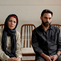 Leila Hatami as Simin and Peyman Moaadi as Nader.