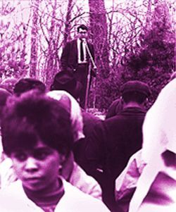 Standing up for civil rights: Bill speaks at a rally at Southern Illinois University.