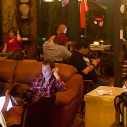 Agora&#039;s cozy interior has scarcely a hint of the catastrophic 2010 fire.