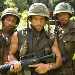 Yes, that is Robert Downey Jr. on the right (pictured with Brandon T. Jackson and Ben Stiller).