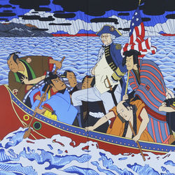 Roger Shimomura had some fun with his re-imagining of George Washington's famous crossing.