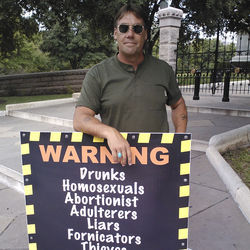 Houston street preacher David Stokes believes &quot;hell awaits&quot; atheists and an assortment of other people whose lifestyles and beliefs he opposes.