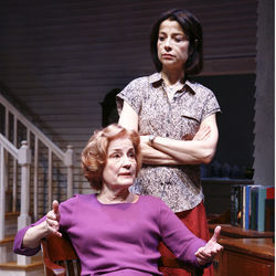 A pill-popping piece of work: Violet (Jennifer Harmon, front, with Josie de Guzman as daughter Barbara).