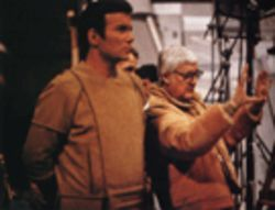 This is illogical: Capt. James T. Kirk (William Shatner) and director Robert Wise on the unhappy set of Star Trek: The Motion Picture