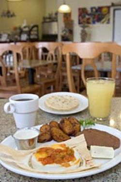 Salvadoran coffee and cashew fruit juice go great with  Sabor!'s house specialty, huevos en tuza.