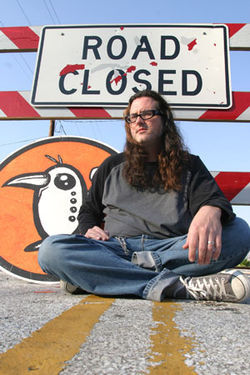"Michael Haaga (with his ""Minus Bird"") found a road  closure on his highway to fame."