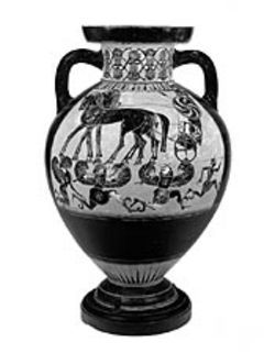 Perseus runs from the Gorgons, ca. 570-560 BC