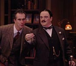 Detective Hercule Poirot (James Black, right) and his thick-headed sidekick, Captain Arthur Hastings (Todd Waite), make a funny pair.
