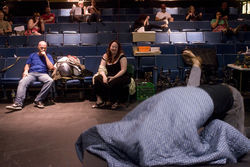 Nodler and Bluefinger choreographer Tamarie Cooper display a mixed reaction to this typically depraved Broodian scene.
