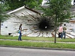 Another owner of a Perry home discovers problems.  (Or maybe it's Art League Houston's temporary  installation on Montrose.)