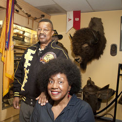 Captain Matthews and Buffalo Soldiers Museum Board President Angela Holder anchor the museum's small operation that presents plays and African-American history  re-enactments to area schools and church groups.