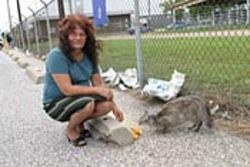 Joyce Searcy, shown with her cat, Trouble, wishes the 