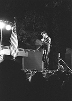 Bayousphere The Return of the King: Elvis appears for Lights in the Heights. Billy Wayde as Presley sings to an enthusiastic crowd on Bayland.