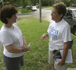 Cohen is reaching out to all voters in the district, even people such as Elizabeth Urquhart, a pro-life Republican.
