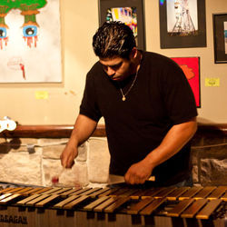Cinco Calderon demonstrates his xylophone mastery at Richmond Chill Bar.