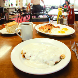 The chicken-fried steak  isn&#039;t prefabbed, and the eggs are always perfect.
