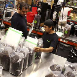 Katz Coffee employees bag custom coffee blends for Houston-area restaurants.