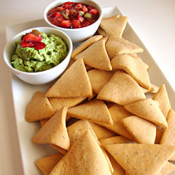 "Alvarado's ""chips with salsa and guacamole"" are actually sugar ­cookies with fruit dips."