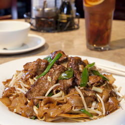 Hot from the wok: dry-fried beef chow fun.