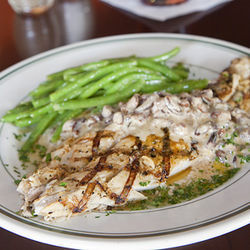 Favorite entr&amp;eacute;e: grilled redfish with pecan butter topping.