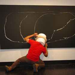 Daniel Adame transformed himself into a blind drawing instrument.