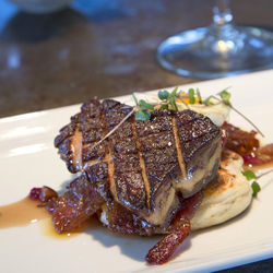 Foie gras on pancakes: breakfast for dinner has never tasted so good.