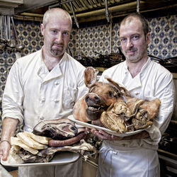 Feast&#039;s Richard Knight and James Silk are from England, where cured meats are as common as hot dogs are in America.