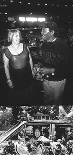 "Theis with ""Flower Man"" artist Cleveland Turner (top) and in parades past."