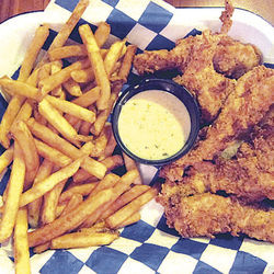 The fried chicken strips have a terrifically crunchy, yet light, batter.