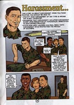 In 2001, the army thought comics would best explain  DADT. Click here to enlarge.