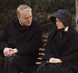 Father Flynn (Philip Seymour Hoffman, with Amy Adams) is accused of sexual abuse.