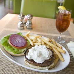 The lamb burger is a fascinating marriage of the hamburger and the gyro.