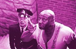 Michael Clarke Duncan plays the noble savage to Tom Hanks&#039;s stolid Forrest Gump guard.